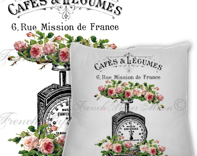 French Digital Vintage Kitchen Scale with Shabby Chic Roses, French Pillow Transfer Graphic Printable