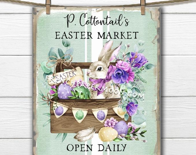 Easter Market Digital, Spring Market, Easter Bunny, DIY Easter Sign, Floral Bunny, Pillow Image, Wreath Decor, Easter Decor, PNG, Download