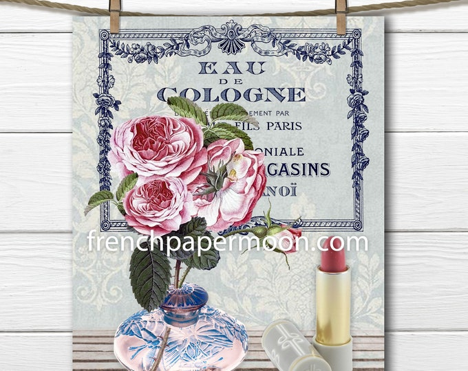 Vintage French Boudoir Print, Perfume Roses Lipstick, Bathroom Bedroom French Print, French Pillow Image, Graphic Transfer, Digital