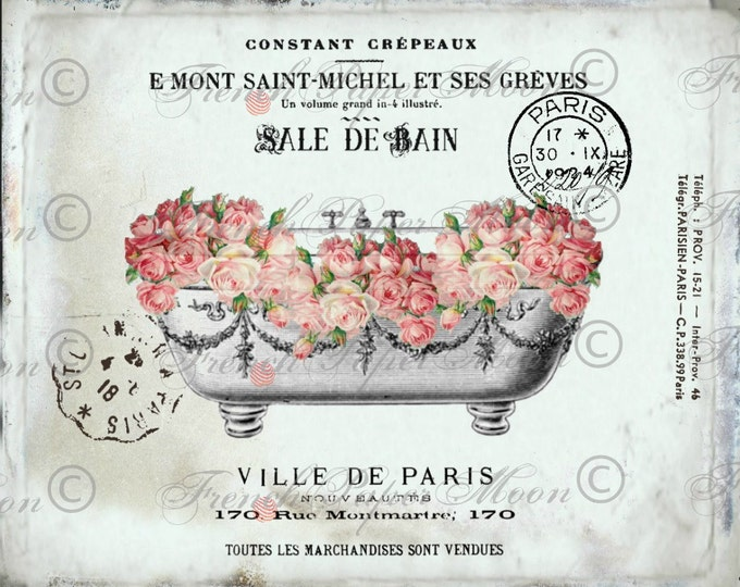 Vintage Digital French Bathtub,Shabby Roses, Romantic Salle De Bain, Digital Collage Sheet, French Bathroom Print