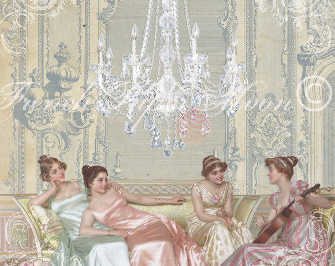 Digital Regency Fashion Printable, Vintage Fashion Download, Regency Period Instant Download, French Pillow Image, Digital Print