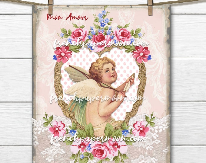 Victorian Cherub, Vintage Cupid, Old fashioned Valentine, Hearts, Roses, Love, Valentine Pillow Image, Printable Valentine Graphic