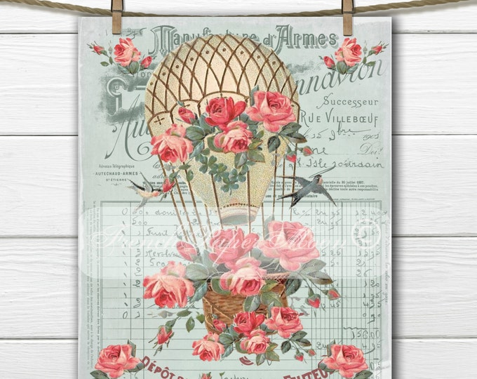 Shabby Chic Vintage Hot Air Balloon, Victorian Air Balloon with Roses, Birds, French typography, French Pillow Graphic Transfer Download