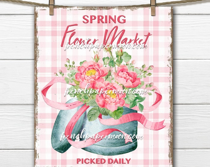 Shabby Flower Market, DIY Spring Digital Sign, Pink Roses, Flower Box, Pillow Image, Wall Decor, Wreath Attachment, Spring Floral Printable