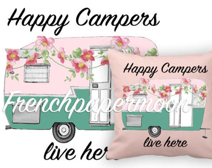 Vintage Camper, Happy Camper, Floral Camper, Digital Pillow Transfer Graphic, Iron on Fabric, Retro camper, RV