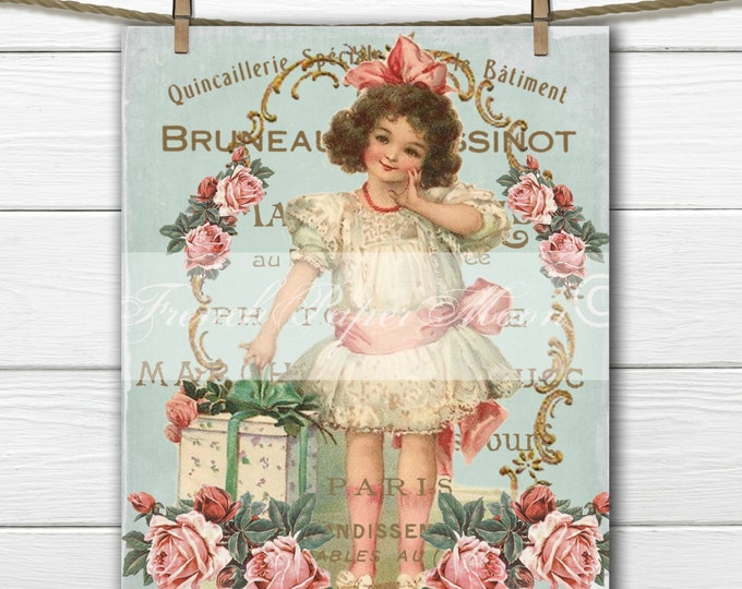 Victorian Shabby Chic Valentine, Vintage Girl, Roses, French Graphics, Digital French Pillow Transfer Graphic Download