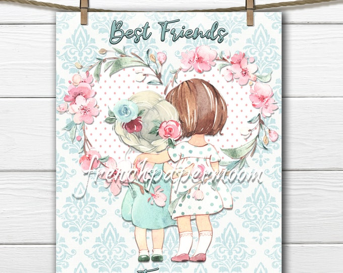 Best Friends, Girls, Flower Heart, Watercolor Printable, Pillow Image, Digital Print, Girl Bedroom, Pastel, Valentine's Day, Mother's Day