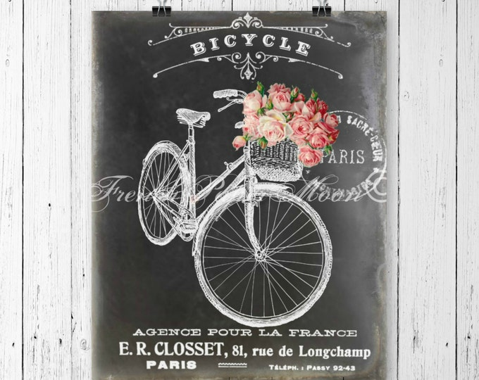 Shabby Chalkboard Bicycle Digital, Vintage Pink Roses, French Graphics, Instant Download Printable, French Pillow Image