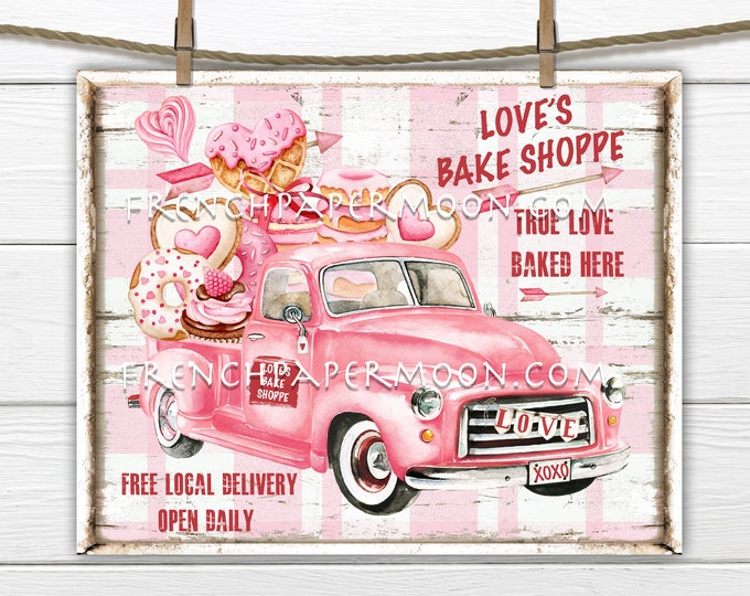 Pink Valentine Truck, Valentine Confectionary, DIY Valentine Sign Valentine Sweets, Retro Truck, Pillow Image, Wreath Decor, PNG, Wood