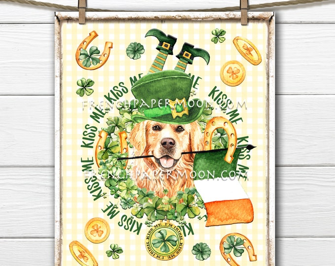 St. Patricks Day, DIY St. Patrick's Sign, Golden Retriever, Clover, Shamrock,  Pillow Image, Wall Decor, Farmhouse, Wood, PNG, Wreath Decor