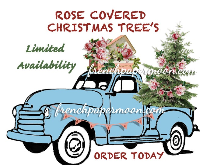 Vintage Digital Shabby Chic Christmas Truck, Car, Tree and Roses, Christmas Pillow Transfer, Instant Download Christmas Pillow Transfer