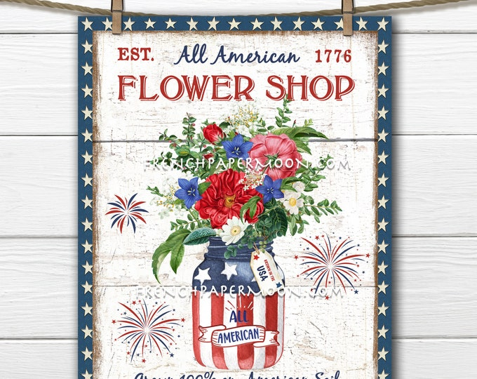 4th of July, Patriotic, Flowers, Fireworks, Patriotic DIY Sign, Farmhouse, Vintage Botanicals, Fabric Transfer, Home Decor, PNG, Wood