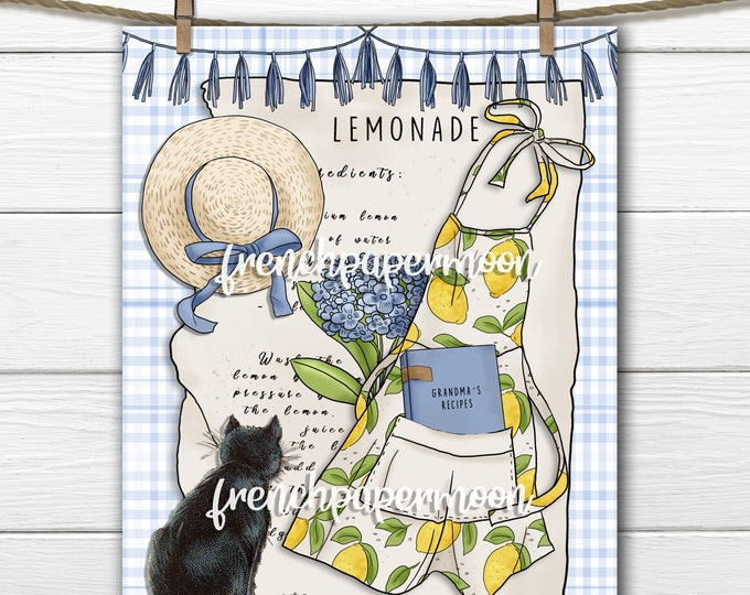 Lemonade Graphic, Grandmas Lemonade, Printable Lemons, Apron, Cat, Pillow Image, Iron on Fabric, Transfer Graphic