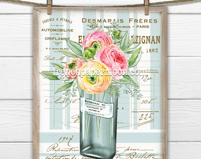 French Floral Print, Ranunculas, Rosemary, Perfume Bottle, French Pillow Image, Digital Collage, Sublimation, Decoupage, Transparent
