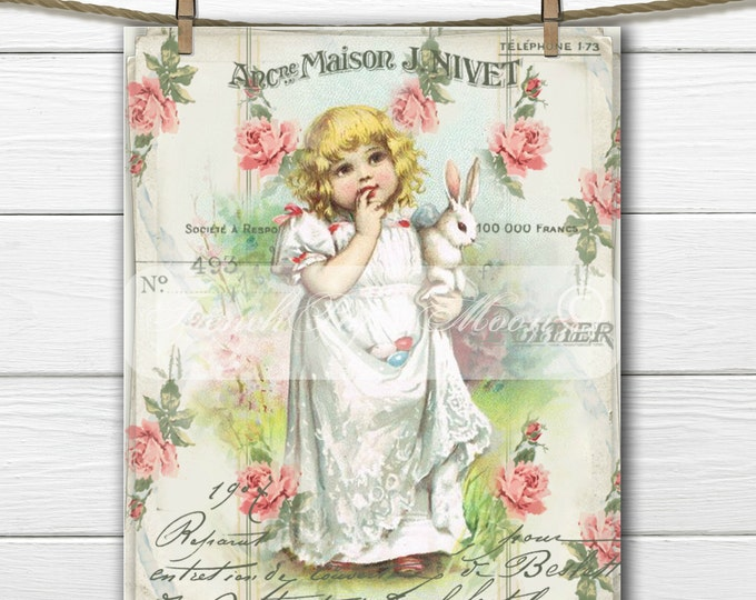 Shabby Digital Victorian Girl and Bunny, Digital Easter, French Graphics, Easter Pillow Graphic Transfer Image