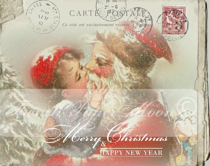 Old-fashioned Santa and Boy Digital Postcard, Victorian Christmas, Christmas Pillow, Printable Image