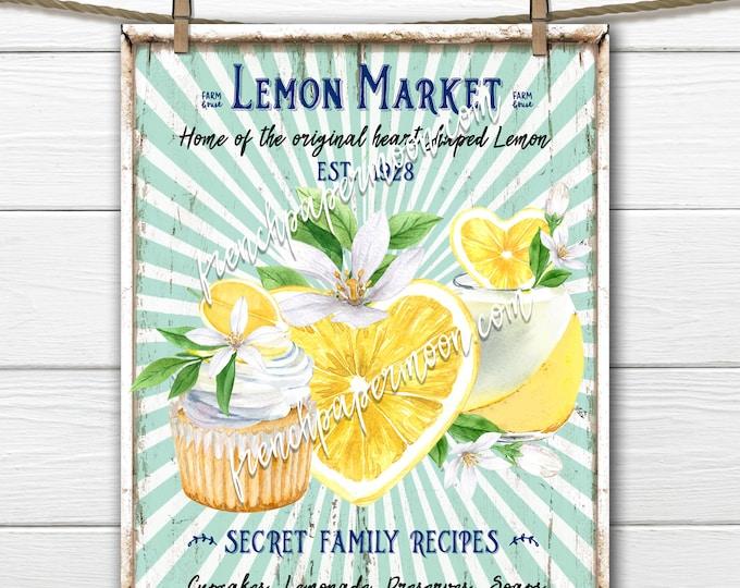 Farmhouse Lemons, Digital, Lemonade, Lemon Market, DIY Lemon Sign, Kitchen Print, Wreath Decor, Tea Towel, Pillow Image, Tiered Tray Decor
