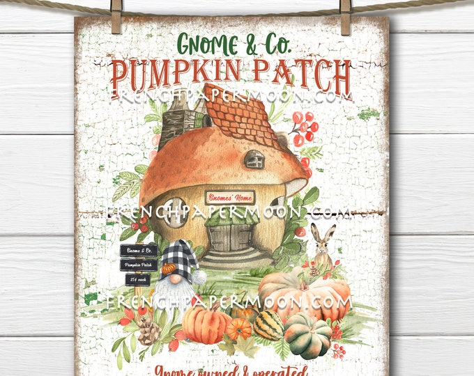 Gnome Pumpkin Patch, Autumn Gnome, Gnome House, DIY Fall Gnome Sign, Wreath Accent, Wall Decor, Fabric Transfer, Image Transfer, Sublimation