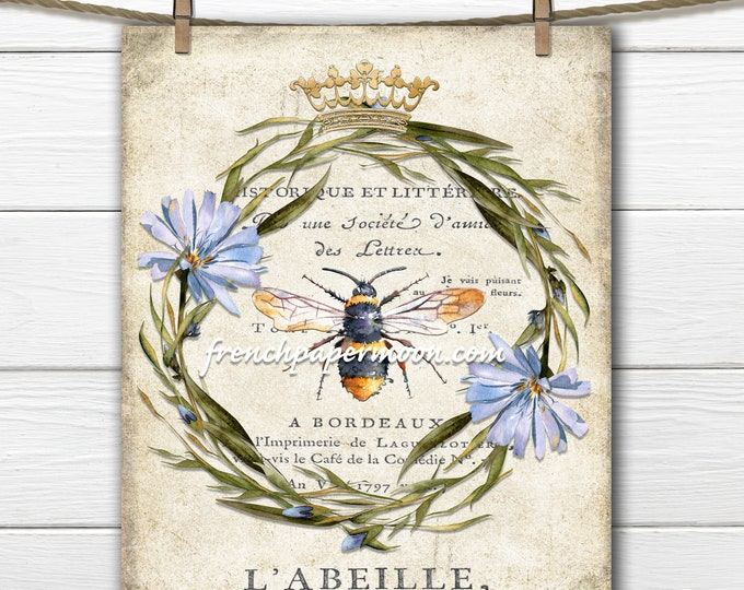 French Bee Graphic, Floral Wreath, Bee Ephemera, L'Abeille, French Pillow Image, Crown, Instant Digital Download, Transparent, Collage
