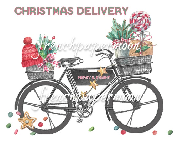 Digital Christmas Delivery Bike, Xmas Bike, Christmas Goodies, Fabric Transfer, Christmas Pillow Image, Craft Supply, Printable Christmas