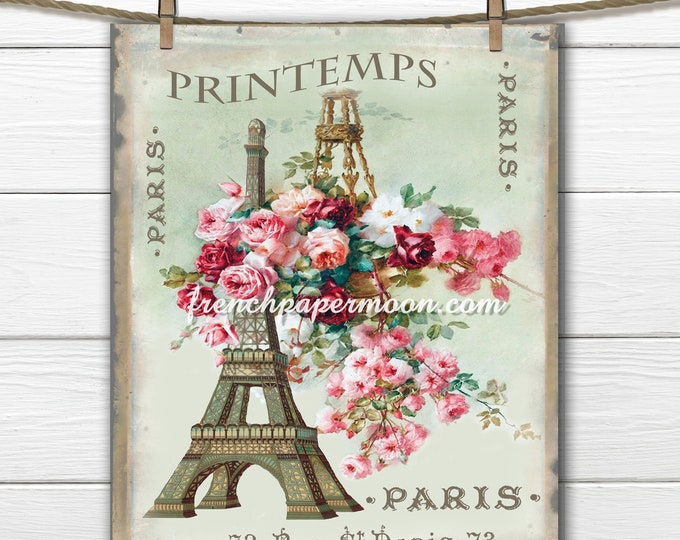 Vintage Shabby Springtime in Paris Digital, Eiffel Tower, Flower Basket, Printemps, Fabric Transfer, Large Size French Graphic