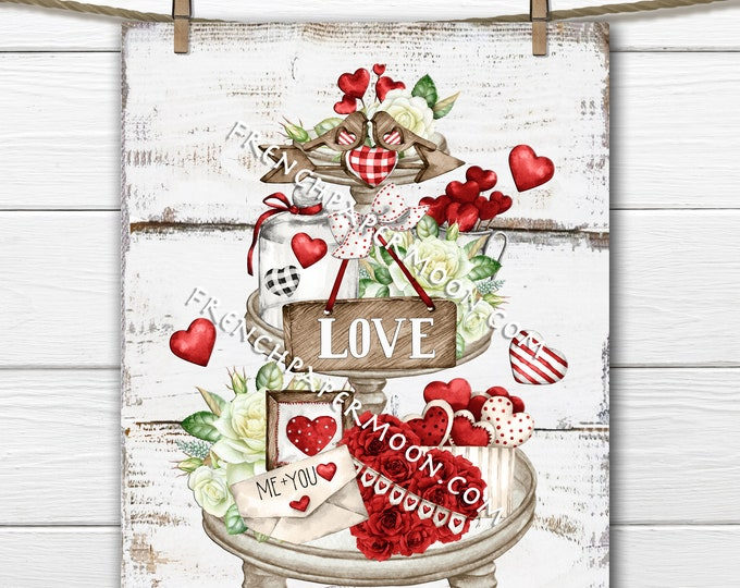 Valentine Tiered Tray Digital, Rustic Valentine Graphic, DIY Valentine Sign, Red Roses, Red Hearts, Love, Wreath Attachment, Wall Decor, PNG