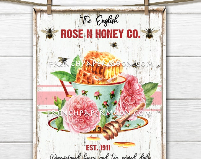 Honey Tea, Roses, Honeycomb, Teacup, Teatime, DIY Honey Sign, Fabric Transfer, Tiered Tray Decor, Pillow Image, Tea Towels, PNG, Wood