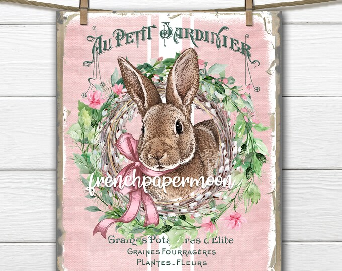 Shabby Easter Bunny Digital, Easter Rabbit, Pink Bunny Rabbit, French Bunny Graphic, Pillow Image, Easter Crafts, Decoupage