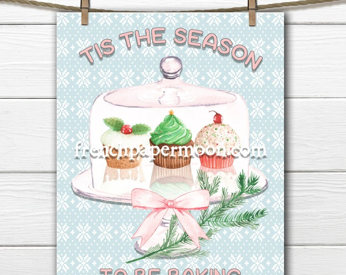 Christmas Baking Digital Graphic, Xmas Cupcakes, Cakeplate, Printable Christmas, Image Transfer, Pink, Fabric Transfer
