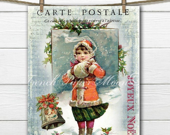 Digital Frances Brundage Christmas, Victorian Snow Girl, Victorian  Christmas, Instant Download Graphic Print