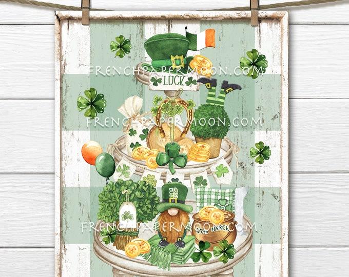St. Patricks Day Digital Tiered Tray, Leprechaun, Clover, Shamrock, Gold Coins, Irish Flag, Pillow Image, DIY St. Patrick's Sign, Wall Decor