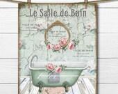 Victorian Bath Graphic, Shabby French Bathroom Print, Claw-foot Bathtub, Vintage Bath, French Bathroom, Digital, Large Size Graphic Transfer