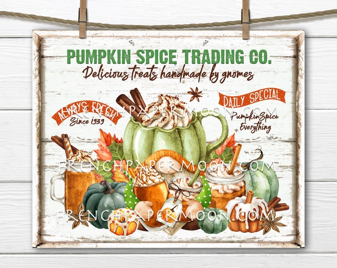 Pumpkin Spice, Gnome, Pumpkin Latte, Fall Cafe, Pumpkins, DIY Pumpkin Spice Sign, Fall Wreath Accent, Fabric Transfer, Digital