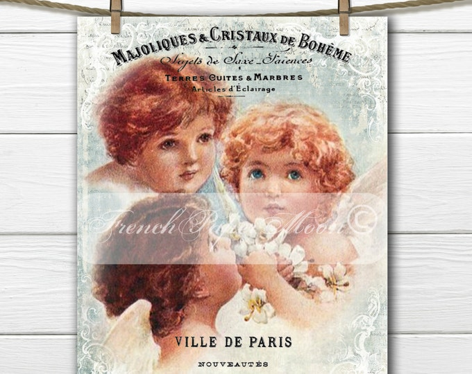 Shabby Chic Christmas Angel Digital, French Graphic Angels, Trio of Cherubs, Instant Download, French Pillow Transfer Graphic