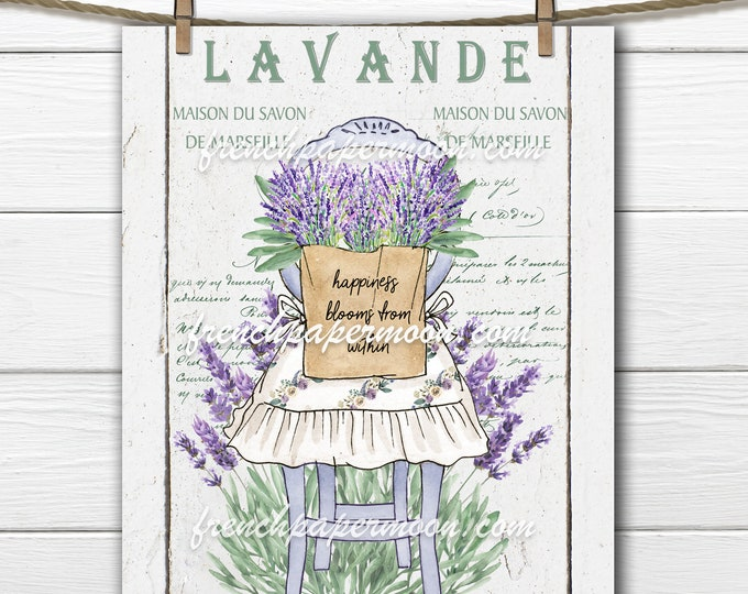 French Lavender, Rustic Chair Printable  Tea Towel  Pillow Image Graphic Transfer, Wood Background Plus Transparent Digital Farmhouse