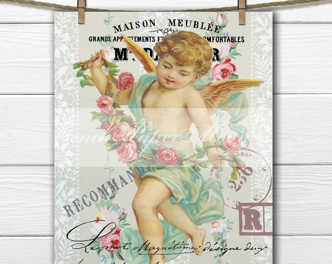 Digital Victorian Angel, Shabby Chic Roses, French Typography, Valentine Download, French Pillow Transfer Graphic Image