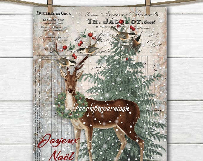 Instant Download Christmas Deer Printable, Woodland Christmas, Chickadee, French Graphics, Christmas Pillow