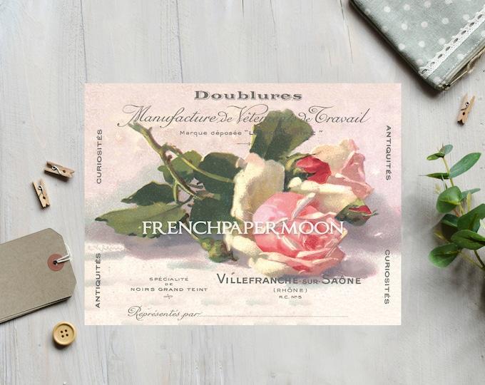 Shabby Digital Roses, Vintage French Rose Printable, Cottage Roses, Pillow Image, Decoupage, Iron on Fabric, Digital Image