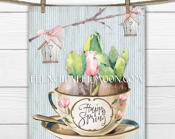 Digital Happy Spring Printable, Spring Bulbs, Teacup, Wood Background, Birdhouse, Fabric Transfer, Instant Download Graphic, Easter Print