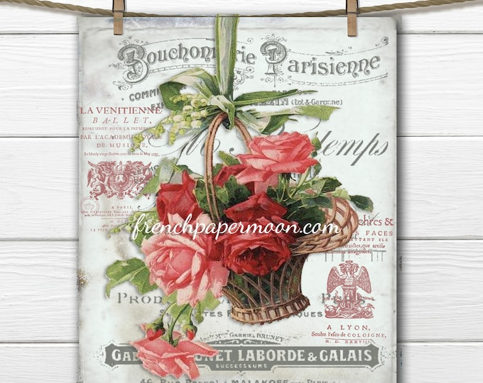 Digital Rose basket, Shabby French Roses, Fabric Transfer, Scrapbooking Background, French Graphics, Large Image Printable Graphic