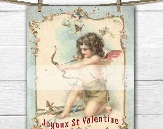 Vintage Shabby Chic Digital Valentine Cherub, French Valentine Download, French Pillow Image, Valentine Graphic Transfer