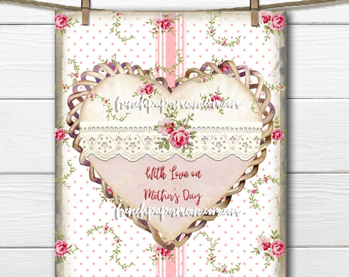 Shabby Floral Mother's Day Heart, Lace Heart Graphic, Rose Heart Printable, Pillow Image,, Pink Roses, Stripes, Heart Collage Sheet