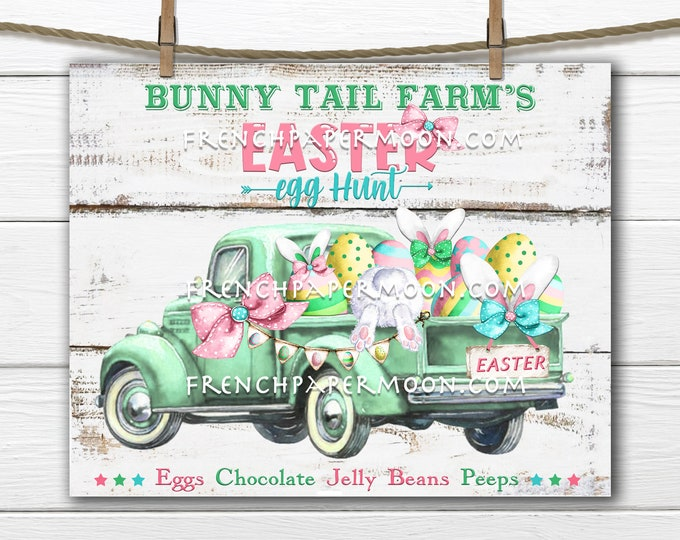 Easter, Truck, Spring Bunny, Easter Pickup Truck, DIY Easter Sign, Easter Egg Hunt, Bunny Tail, Pillow Image, Wreath Decor, Fabric Transfer