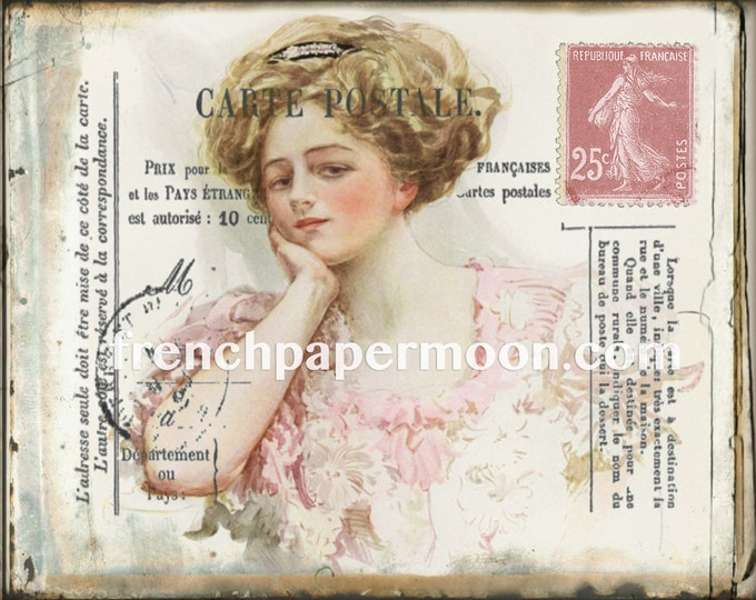 French Postcard, Vintage Lady, Henry Hutt illustration, Shabby PinkPostcard Printable, Fabric Transfer Graphic, Decoupage, Crafts