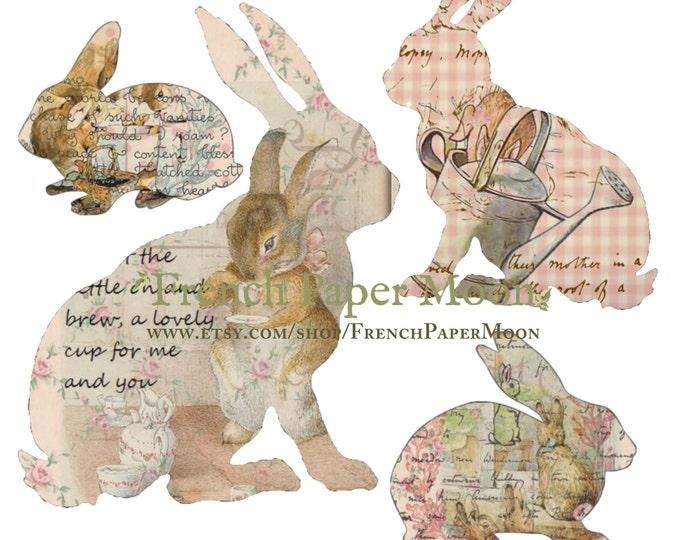 Printable Beatrix Potter Bunnies, Digital Bunnies, Easter Bunnies, Digital Collage Sheet,  Rabbit Printout, Appliques, Bunny Cutout