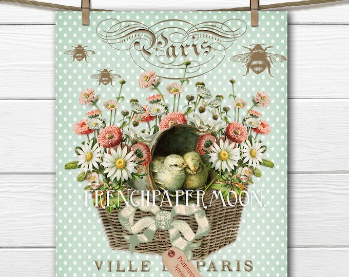 Digital Shabby Spring Vintage Chicks in Basket, Basket of Chicks, Spring Printable, Easter Pillow Image, Crafts