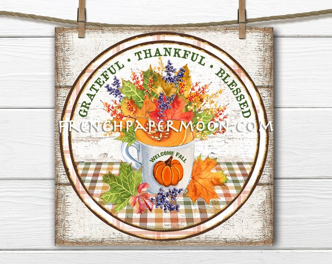 Autumn Leaves, Cup of Leaves, Thanksgiving, Circle, Square, Sublimation Graphic, Digital, Wood, PNG, Door Hanger, Round, Iron-on transfer