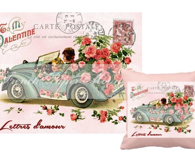 Digital Valentine Postcard, Vintage Valentine Car, Shabby Chic Roses, French Valentine Pillow Graphic Transfer