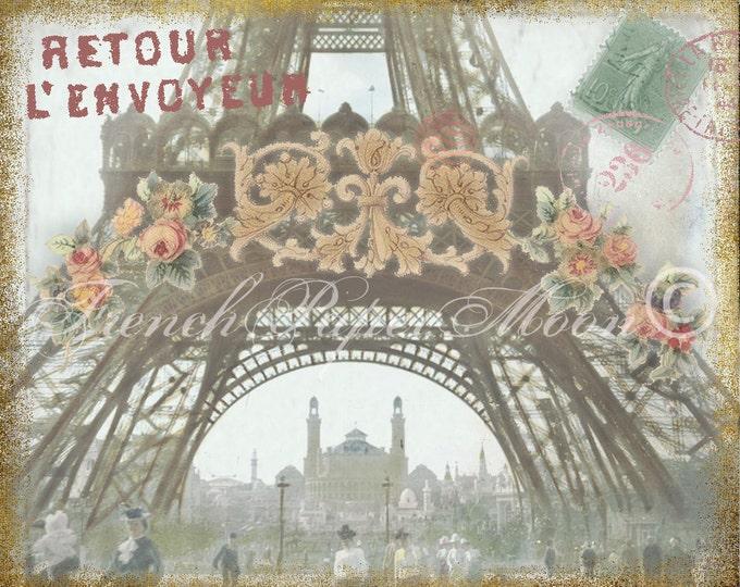 Vintage Paris Digital Image, Altered French Postcard, Vintage Paris Digital Download, Eiffel Tower, Paris 1900's collage