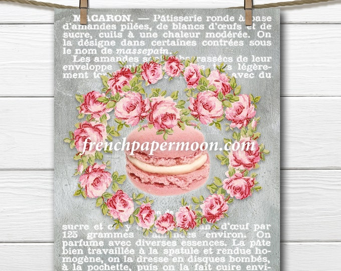 Digital French Macaron Printable, Kitchen Print, Wall Decor, Pillow Image, French Graphic Transfer Image, Large Size